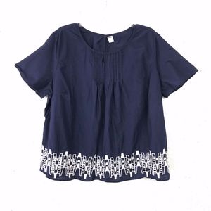 Old Navy Blue & White Embroidered Eyelet Loose Top